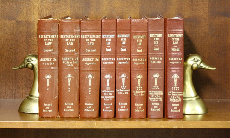 Restatement of the Law. Agency 2d. 8 Vols. Complete set. American Law Institute.