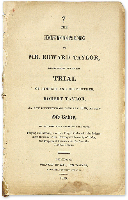 The Defence of Mr. Edward Taylor, Delivered by Him on the Trial of. Trial, Edward Taylor, Defendant, Robert Taylor.