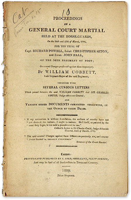 Proceedings of a General Court Martial held at the Horse-Guards. Trial, Richard Powell, William Cobbett.