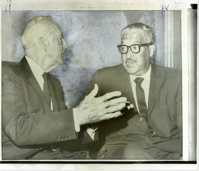 """8"""" x 9-1/2"""" Color Press Photograph of Justices Marshall and Black. Thurgood Marshall, Hugo L. Black."""