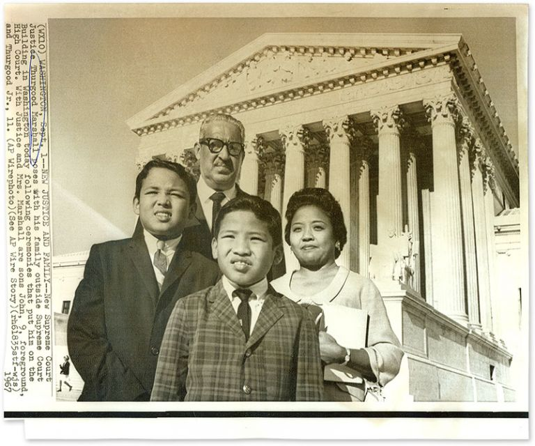 """8"""" x 9-1/2"""" Black-And-White Press Photograph of Justice Marshall. Thurgood Marshall, U S. Supreme Court Justice."""