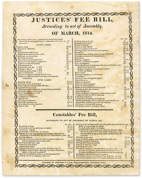 Justices' Fee Bill, According to Act of Assembly, Of March, 1814. Broadside, Pennsylvania.