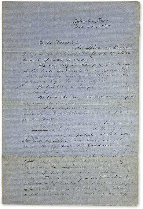 Draft Letters by Members of the Galvaston Bar Recommending William H. Manuscript, Texas.