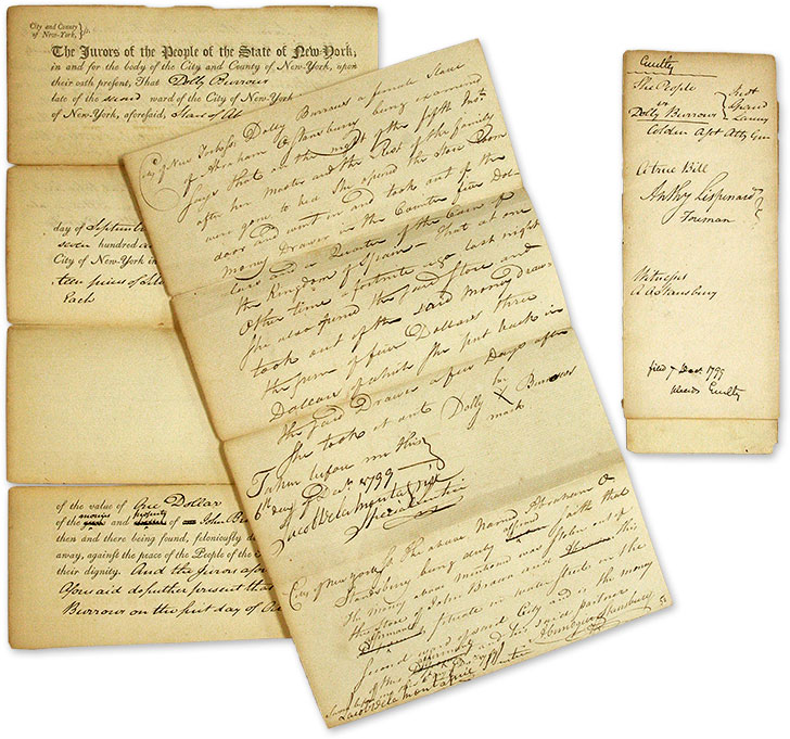 Documents Relating to the Trial of a Female Slave Accused of Theft. Manuscript, Trial, Slavery, New York.