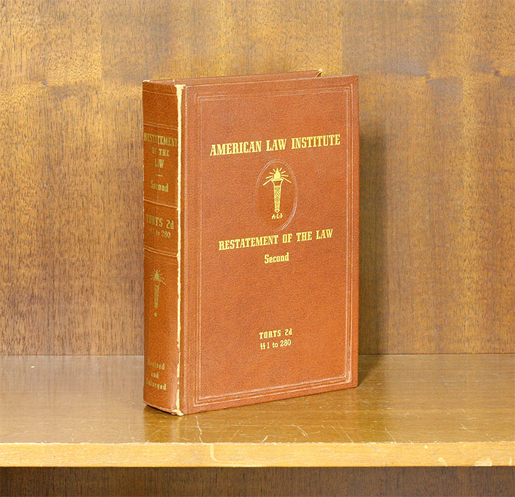 Restatement of the Law 2d Torts. Vol. 1. Sections 1-280. (1 book). American Law Institute.