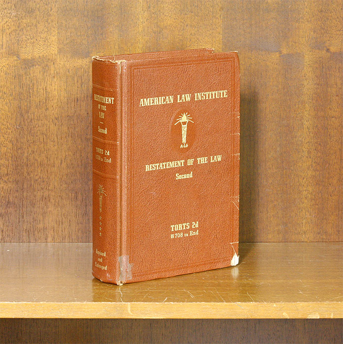 Restatement of the Law 2d Torts. Vol. 4. Sections 708-End. (1 book). American Law Institute.