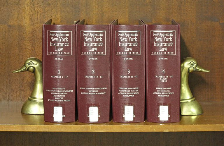New Appleman New York Insurance Law, Second Edition. 4 Vols Nov. 2018. Wolcott B. Dunham Jr., Thomas M. Kelly.