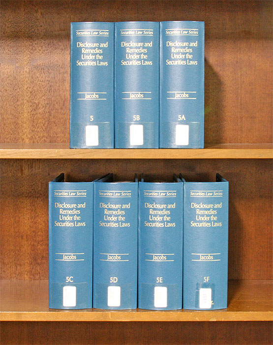 Disclosure and Remedies Under the Securities Laws. 7 Vols. March 2019. Arnold S. Jacobs.