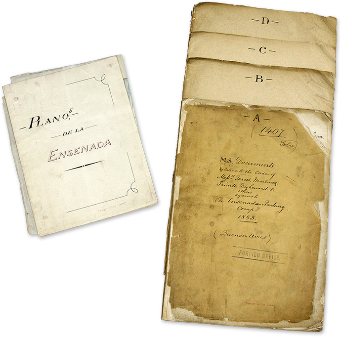 Documents Relating to a Railway Right-of-Way Case, 1883-1884. 6 items. Argentina, Manuscript Archive, Trial.