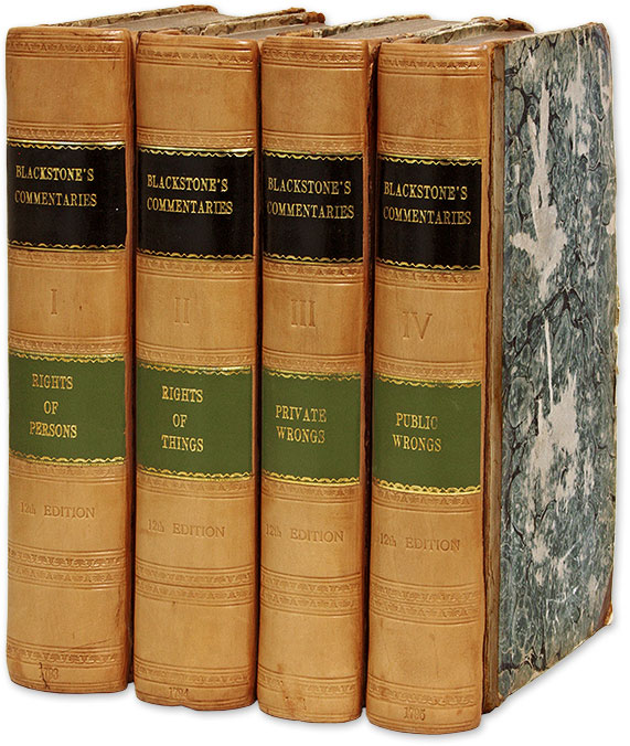 Commentaries on the Laws of England. 12th. ed. Four Volumes. Sir William Blackstone, Edward Christian.