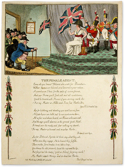 """The Female Agent, 13-1/4"""" x 9-1/2"""" hand-colored etching. London, 1809. Charles Williams, Mary Anne Clarke."""