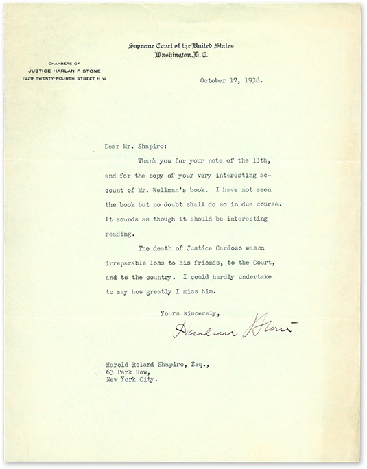 Typed Letter, Signed, Regarding the Death of Benjamin Cardozo. Manuscript, Harlan Stone, Harold Roland Shapiro.