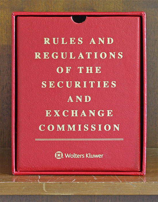 Red Box: Rules and Regulations of the SEC. thru Bull 169 May 15, 2019. Wolters Kluwer.