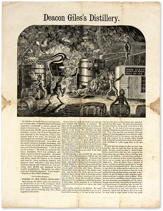 Deacon Giles's Distillery, New York, 1865. Broadside, Temperence, George Barrell Cheever.
