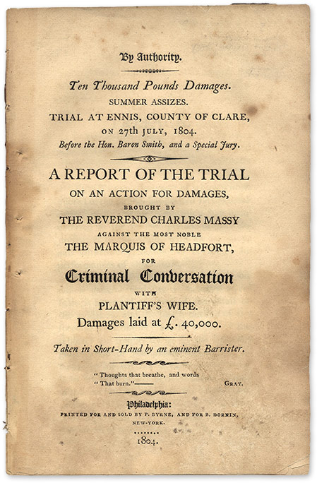 A Report of the Trial on an Action for Damages Brought by the. Trial, Thomas Taylour, Defendant.