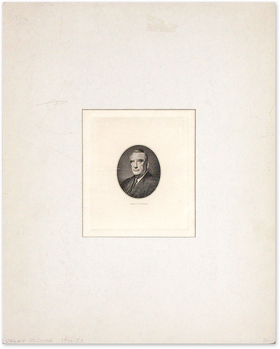 Engraved Image of Vinson, Mounted and Matted. Fred M. Vinson.