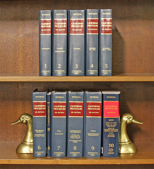 California Procedure 5th (Witkin Library) 10 Vols. w/March 2019 supps. B. E. Witkin, Members of Witkin Legal Institu.