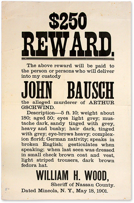 $250 Reward, The Above Reward Will be Paid to the Person of Persons. Broadside, Murder, New York Nassau County.