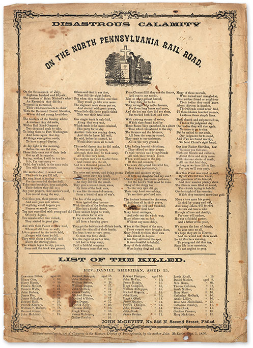 Disastrous Calamity on the North Pennsylvania Rail Road. 14 x 10 in. Broadside, John McDevitt.