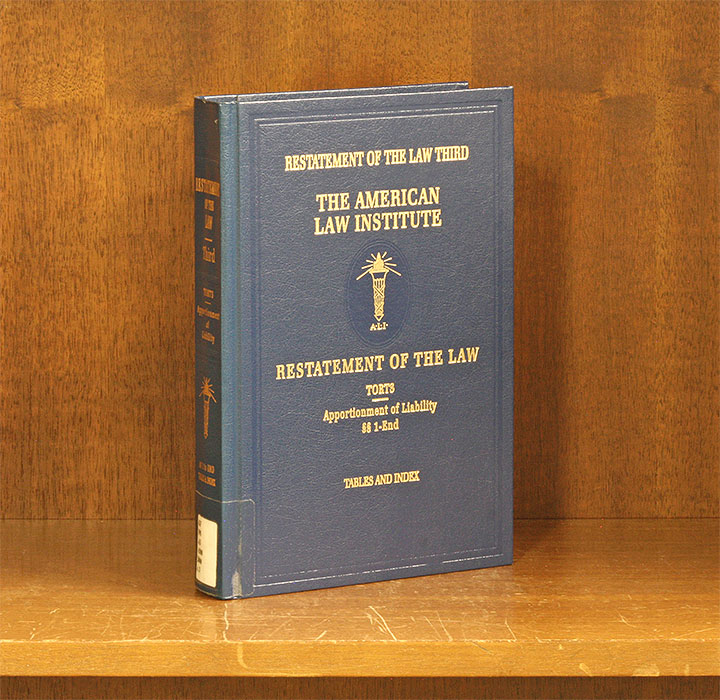 Restatement of the Law Torts 3d Apportionment of Liability w/2017 supp. American Law Institute.