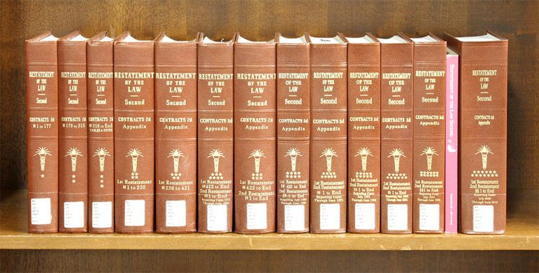 Restatement of the Law 2d. Contracts & Appendix 13 books w/2018 supp. American Law Institute.