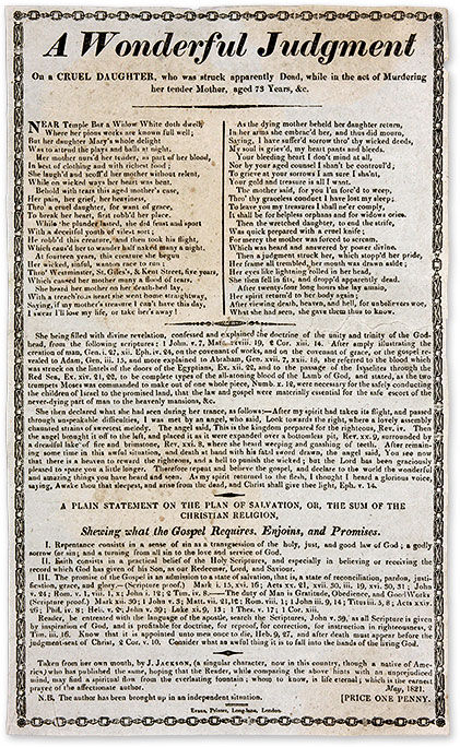 A Wonderful Judgment on a Cruel Daughter, Who Was Struck Apparently. Broadside, Murder, Great Britain.