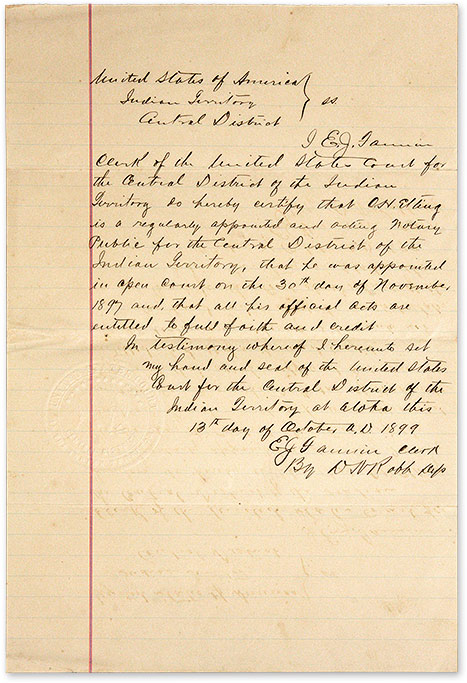 Document Appointing A Notary Public for the Central District. Manuscript, Oklahoma, Indian Territory.