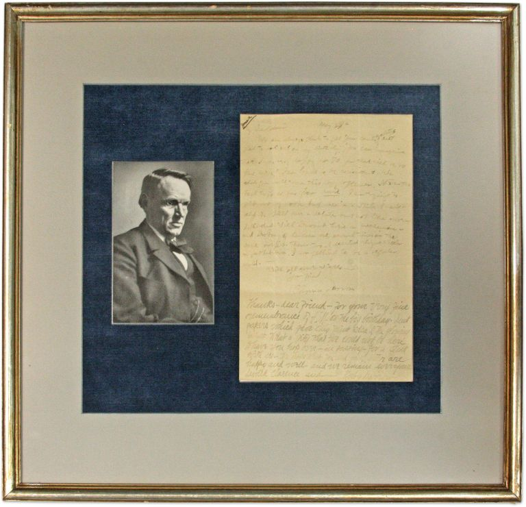 Autograph Letter, Signed, With Long Postcript by Ruby Darrow, Signed. Manuscript, Clarence Darrow, Ruby Darrow.