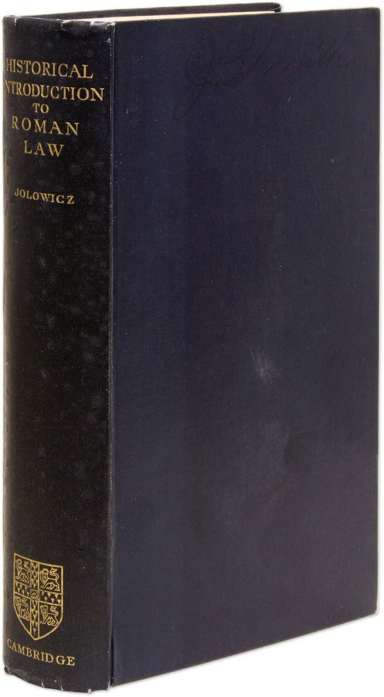 Historical Introduction to the Study of Roman Law, 1st edition. H. F. Jolowicz.