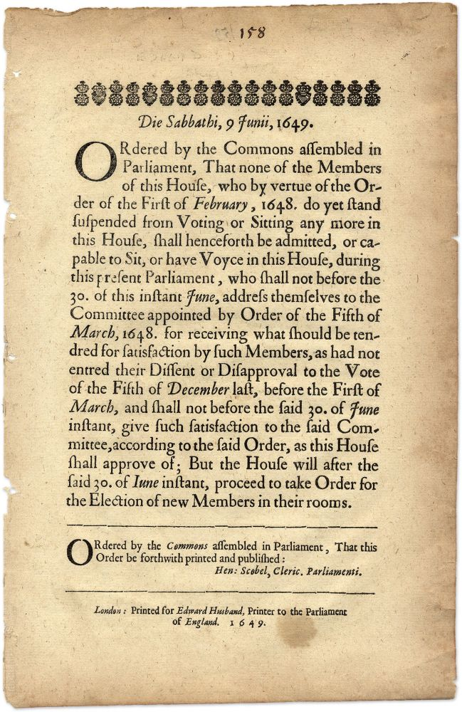 Die Sabbathi, 1 Junii, 1649, Ordered by the Commons Assembled. Broadside, Great Britain, Parliament.