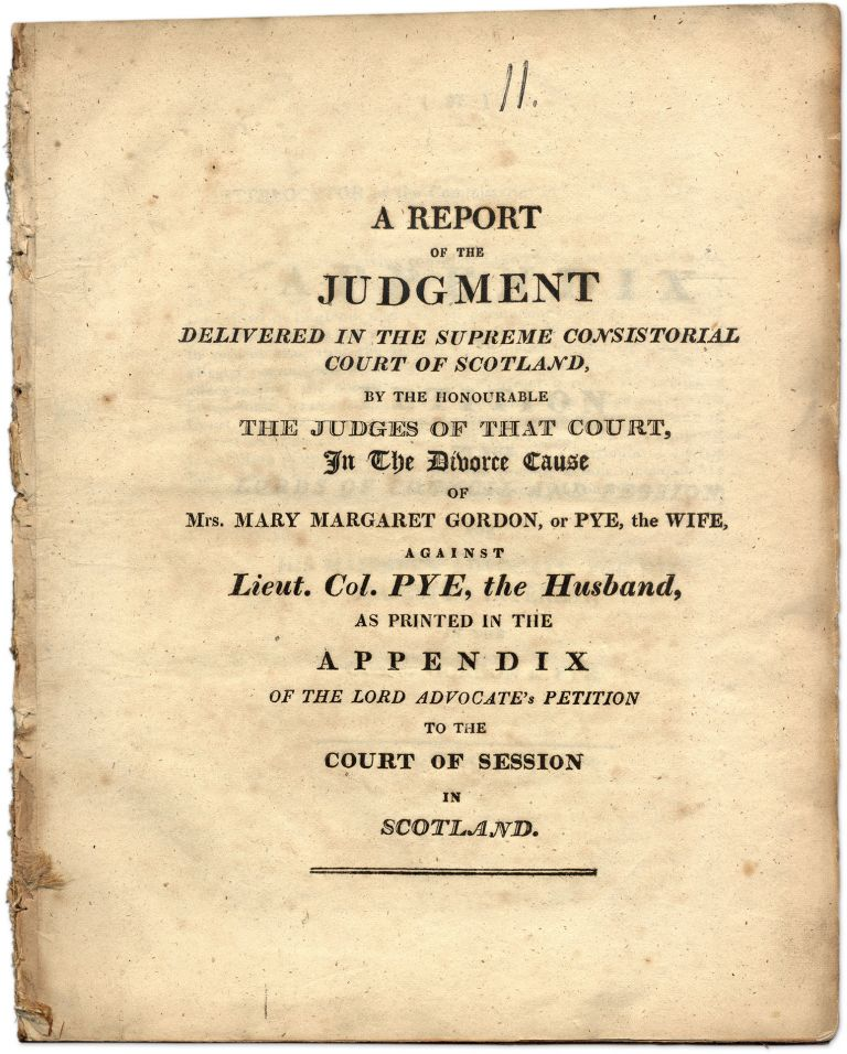 A Report of the Judgment Delivered in the Supreme Consistorial. Trial, Mary Margaret Gordon, Alleyne H. Pye.