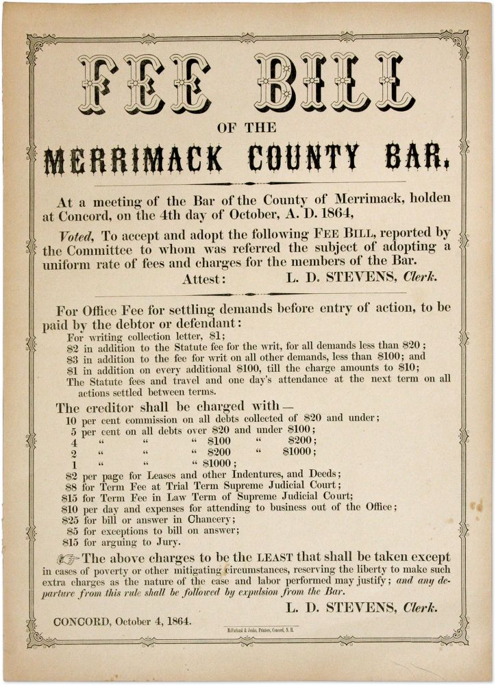 "Fee Bill of the Merrimack County Bar, 13-1/2"" x 10-1/2"" broadside. Broadside, Merrimack County Bar."