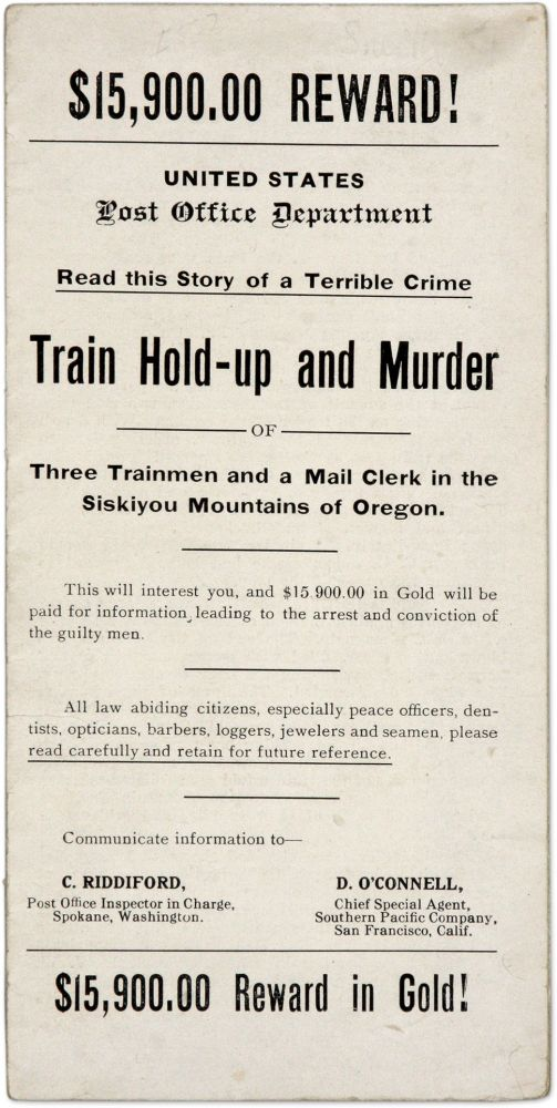 $15,900.00 Reward!, Read This Story of a Terrible Crime, Train Hold. Train Robbery, United States Post Office.