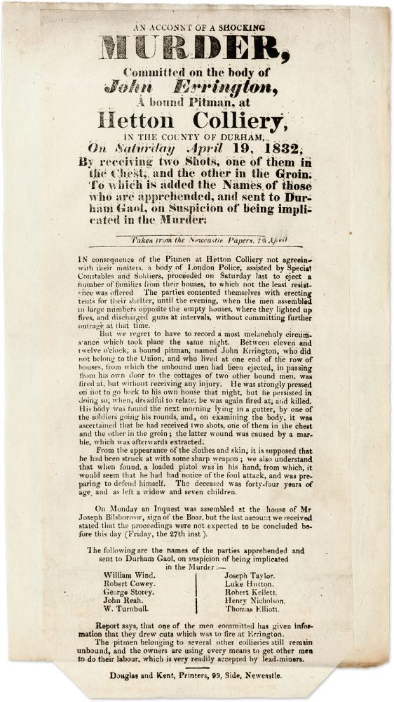 An Account of the Shocking Murder, Committed on the Body of John. Broadside, Murder, Great Britain.