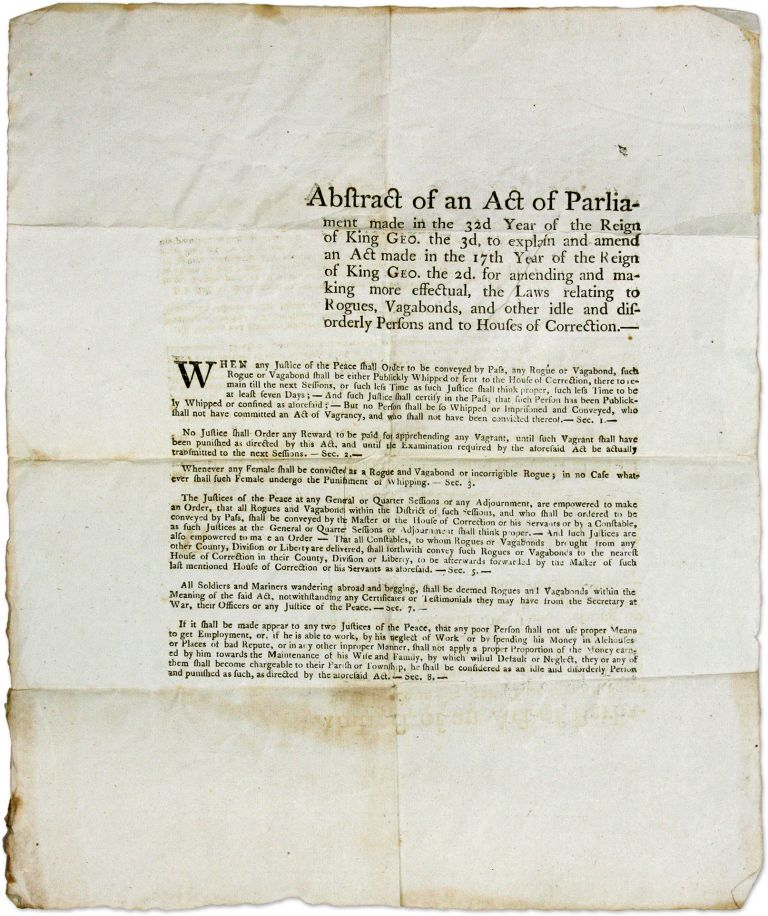 Abstract of an Act of Parliament Made in the 32d Year of the Reign. Broadside, Rogues and Vagabonds, Great Britain, Rogues, Vagabonds.