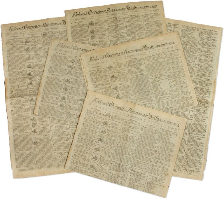 Six Issues of the Federal Gazette & Baltimore Daily Advertiser, 1797. Baltimore.