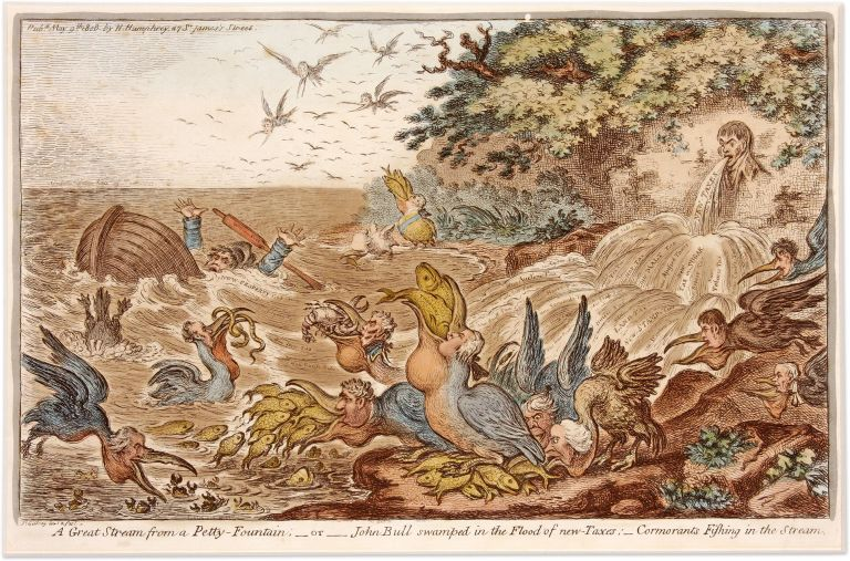 A Great Stream from a Petty Fountain, Or, John Bull Swamped in the. James Gillray.