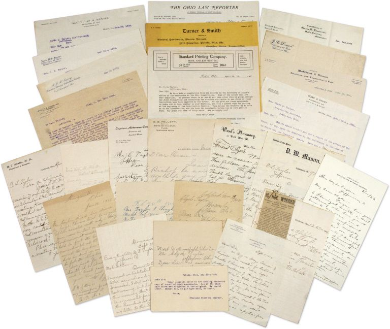 Letters Addressed to Jefferson, Ohio Prosecutor Clyde A Taylor. Manuscript Archive, Lawyers, Clyde A. Taylor.