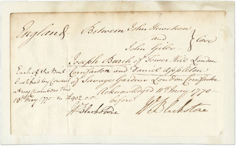 Autograph Document, Signed Twice, May 11 and 18, 1770. Manuscript, Sir William Blackstone.