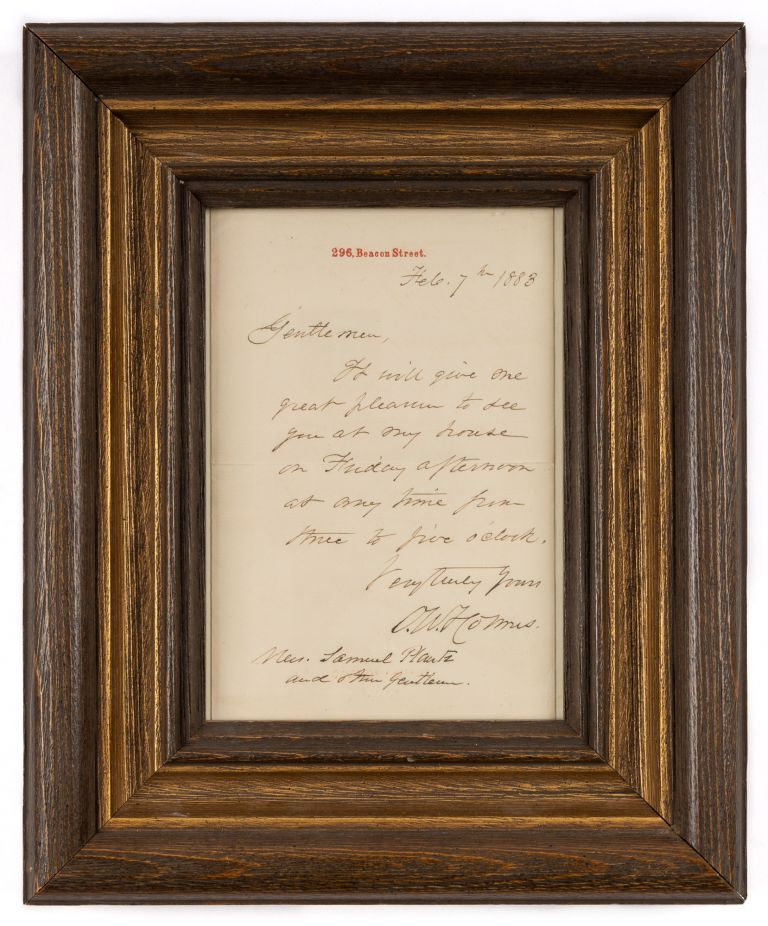 Autograph Letter, Signed, Boston, February 7, 1883. Manuscript, Oliver Wendell Holmes, Sr.