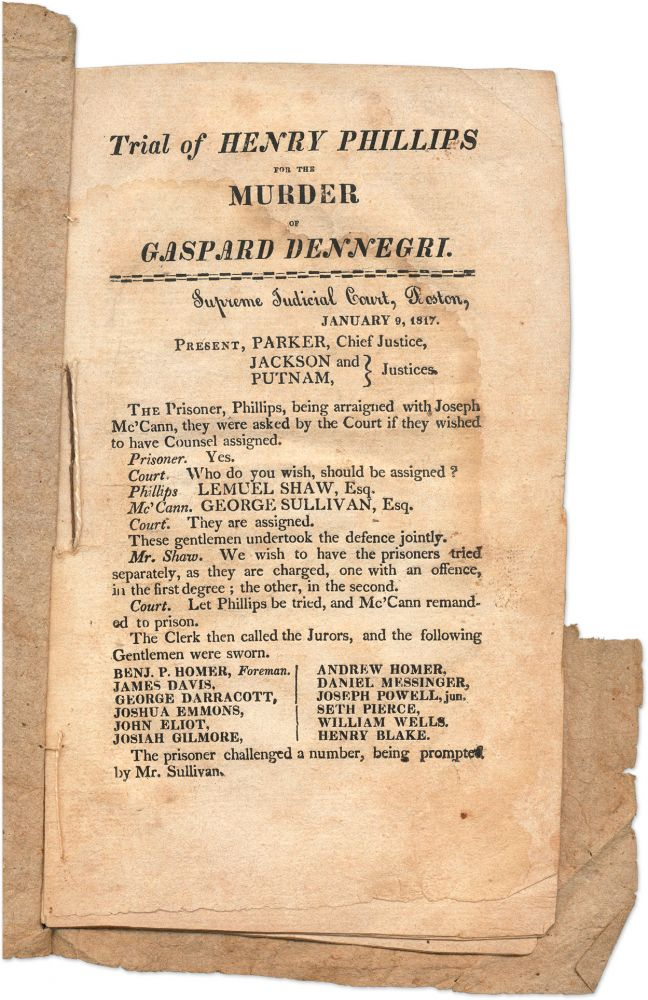 Trial of Henry Philips for the Murder of Gaspard Dennegri, 1817. Trial, Henry Philips.
