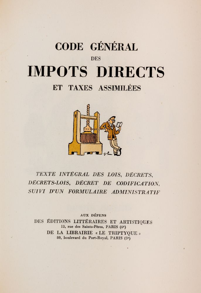 Code General des Impots Directs et Taxes Assimilees, Limited Edition`. Joseph Hemard.