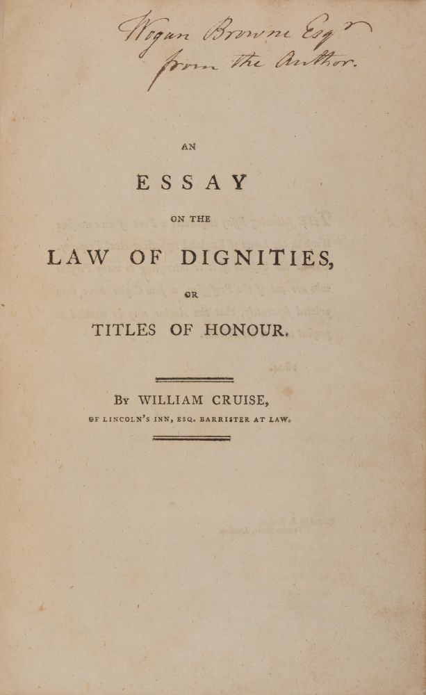 An Essay on the Law of Dignities, Or Titles of Honour. William Cruise.