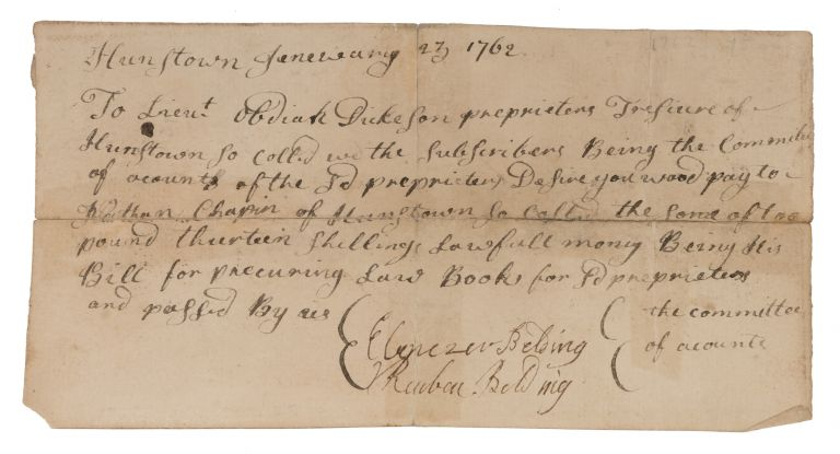 Document Concerning Payment for the Purchase of Law Books, 1762. Manuscript, Law Books, Massachusetts.