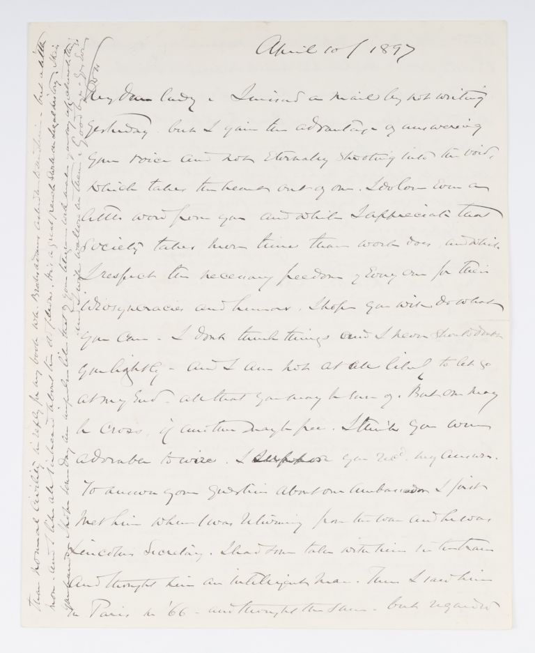 "Autograph Letter Signed (""OWH"") to Lady Clare Castletown, 1897. Oliver Wendell Jr Holmes, Manuscript, Castletown."
