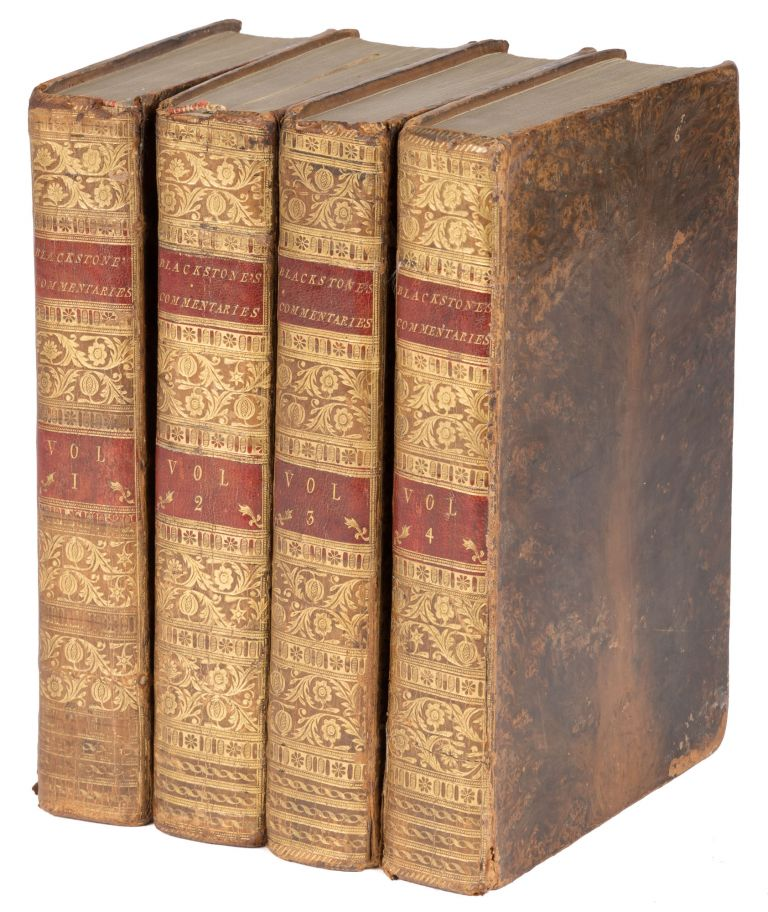 Commentaries on the Laws of England. Ninth ed. 4 Vols. London, 1776. Sir William Blackstone, Richard Burn.