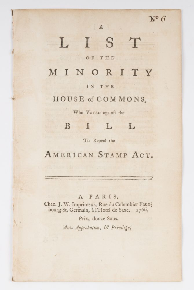 A List of the Minority in the House of Commons, Who Voted Against. Stamp Act.