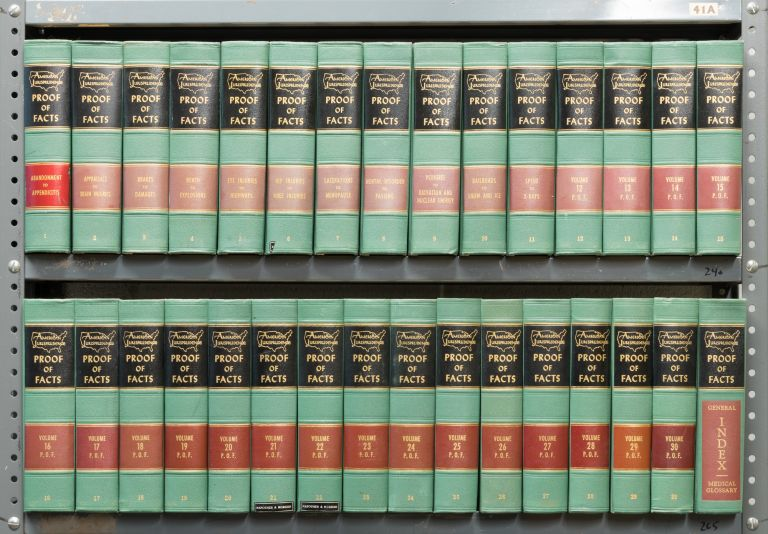 Am Jur Proof of Facts 1st. Vols. 1-30; (1959-1973) w/1973 pocket parts. Lawyers Co-operative Publishing.