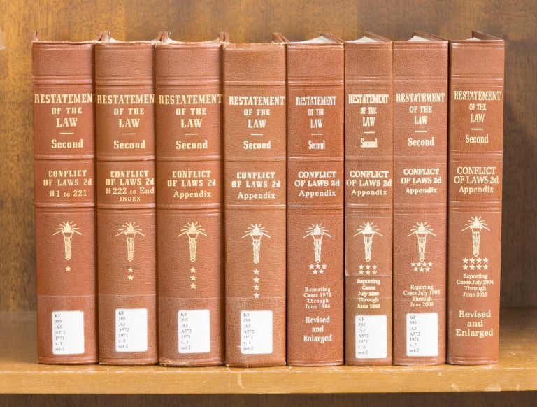 Restatement of the Law Conflict of Laws 2d & Appendix 8 Vols. American Law Institute.