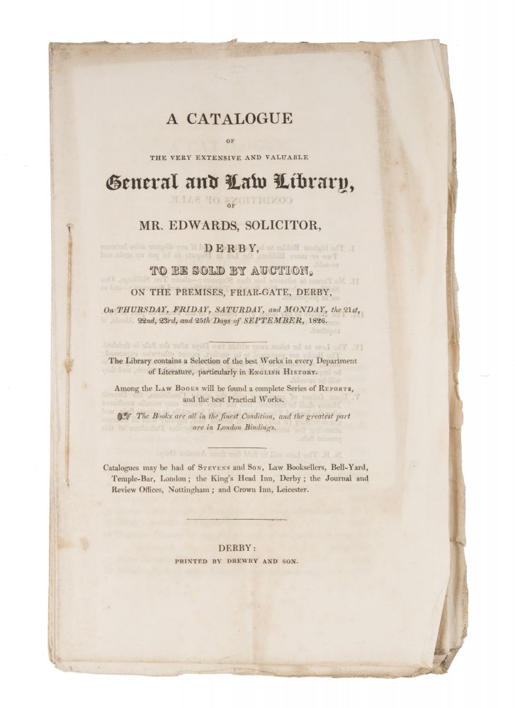 A Catalogue of the Very Extensive and Valuable Law Library of Mr. Auction Catalogue.